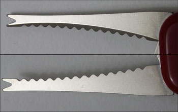 A front (top) and rear view of the older fish scaler with out the line-guide (cut out),found on the 85mm Wenger knives
