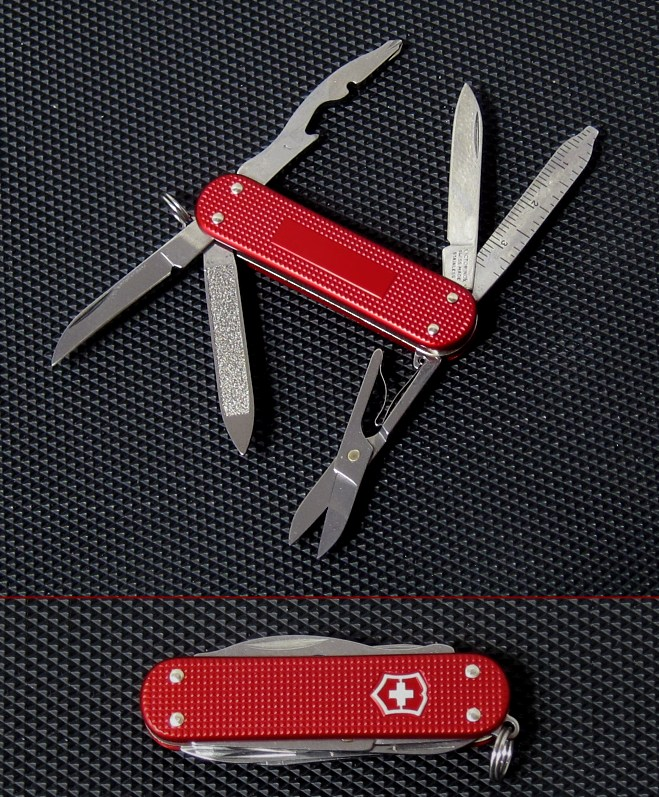 The Victorinox Drifter was first manufactured in April 2012 for the USA Dealer Swiss Bianco in limited quantity.  The first versions were done in Red anodized Alox handles and features that standard silver outlined Victorinox shield.