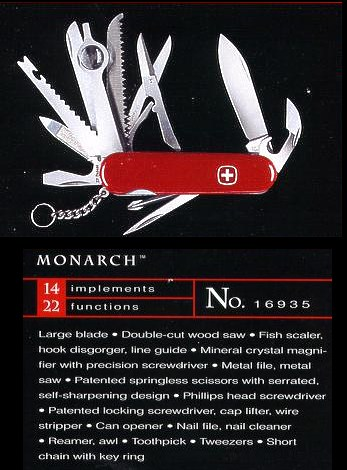 The Monarch is a larger Wenger knife much like the Champion is for Victorinox.