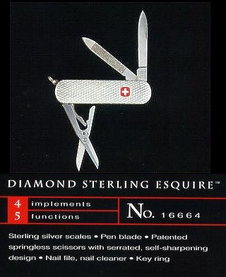 Wenger Esquire Sterling silver with a Diamond pattern